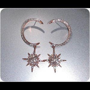 Moon Starburst Rose Gold Earrings